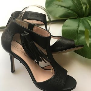 Kate spade black fringe tassel heels
